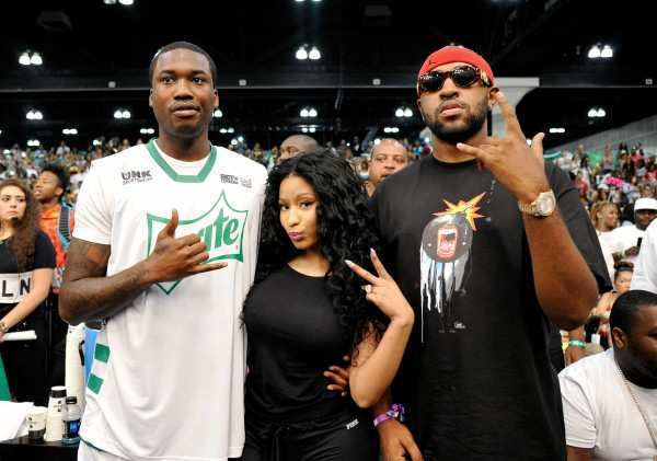 LOS ANGELES, CA - JUNE 27:  (L-R) Rapper Meek Mill, rapper Nicki Minaj, and music producer Mike Will Made It pose during the Sprite celebrity basketball game during the 2015 BET Experience at the Los Angeles Convention Center on June 27, 2015 in Los Angeles, California.  (Photo by John Sciulli/BET/Getty Images for BET)