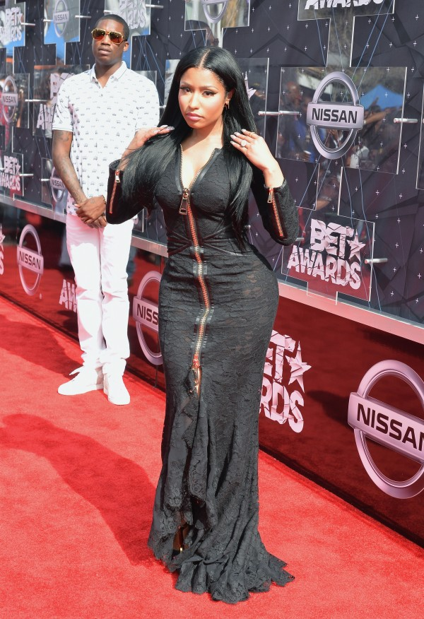 LOS ANGELES, CA - JUNE 28:  Hip-hop artists Nicki Minaj (front) and Meek Mill attend the 2015 BET Awards at the Microsoft Theater on June 28, 2015 in Los Angeles, California.  (Photo by Earl Gibson/BET/Getty Images for BET)