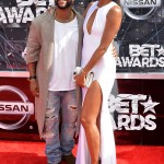 LOS ANGELES, CA - JUNE 28:   Singer-songwriter Omarion (L) and Apryl Jones attend the 2015 BET Awards at the Microsoft Theater on June 28, 2015 in Los Angeles, California.  (Photo by Earl Gibson/BET/Getty Images for BET)