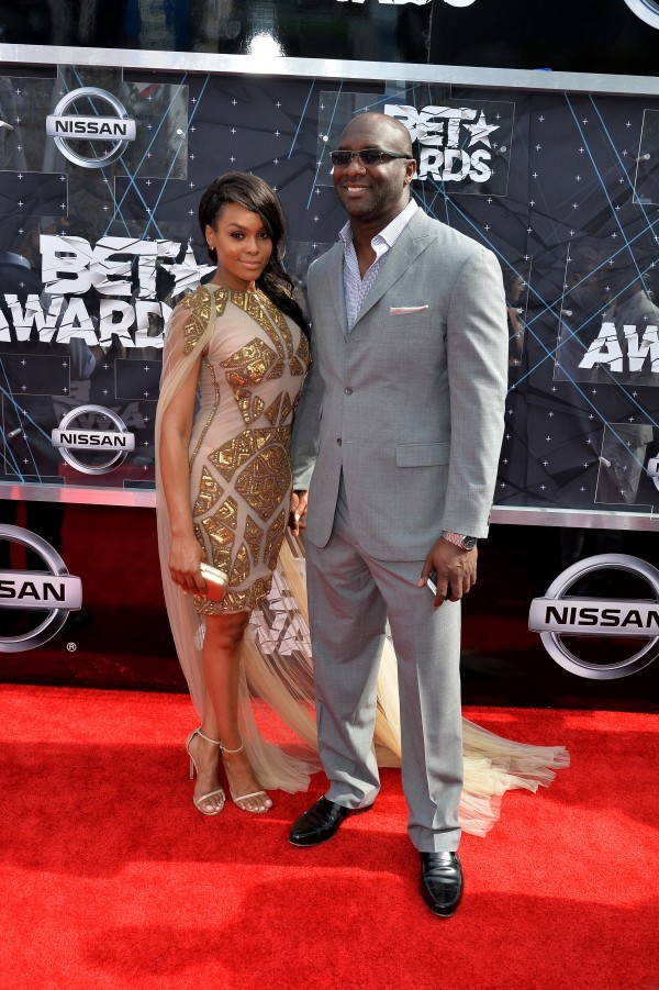 LOS ANGELES, CA - JUNE 28:  Actress Demetria McKinney and producer Roger M. Bobb (R) attend the 2015 BET Awards at the Microsoft Theater on June 28, 2015 in Los Angeles, California.  (Photo by Earl Gibson/BET/Getty Images for BET)