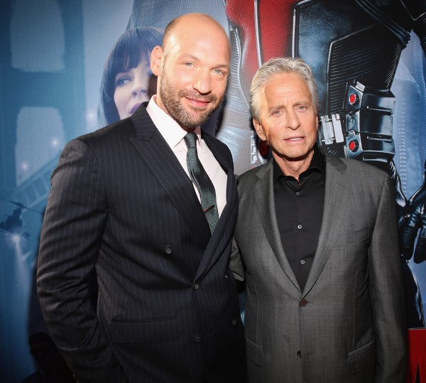 "LOS ANGELES, CA - JUNE 29: Actors Corey Stoll (L) and Michael Douglas attend the world premiere of Marvel's ""Ant-Man"" at The Dolby Theatre on June 29, 2015 in Los Angeles, California.  (Photo by Jesse Grant/Getty Images for Disney) *** Local Caption *** Corey Stoll;Michael Douglas"