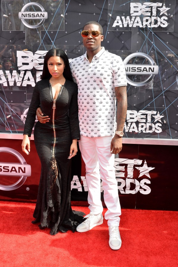 LOS ANGELES, CA - JUNE 28:  Hip-hop artists Nicki Minaj (L) and Meek Mill attend the 2015 BET Awards at the Microsoft Theater on June 28, 2015 in Los Angeles, California.  (Photo by Earl Gibson/BET/Getty Images for BET)