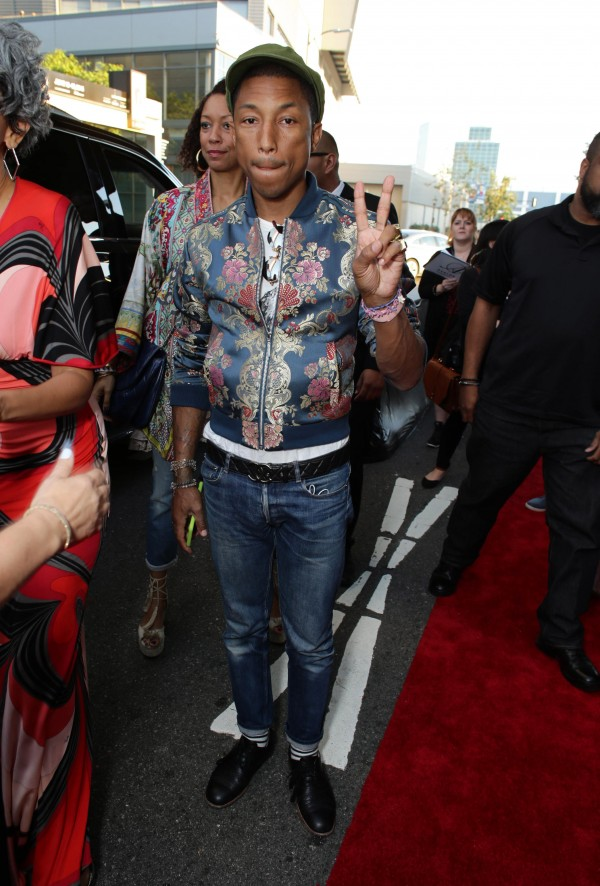 """Executive Producer Pharrell Williams seen at Open Road Films Los Angeles Premiere of """"Dope"""" in partnership with the LA Film Fest on Monday, June 8, 2015, in Los Angeles. (Photo by Eric Charbonneau/Invision for Open Road Films/AP Images)"""