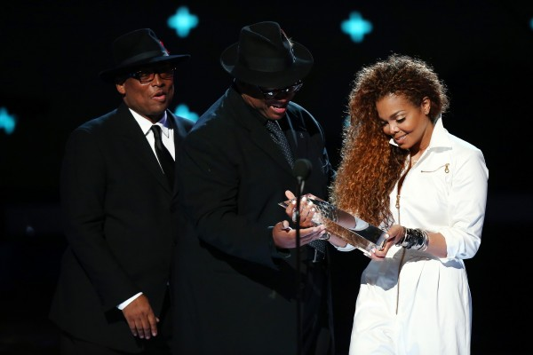 LOS ANGELES, CA - JUNE 28:  (L-R)Producer/songwriters Terry Lewis and Jimmy Jam present honoree Janet Jackson with the Ultimate Icon Award onstage during the 2015 BET Awards at the Microsoft Theater on June 28, 2015 in Los Angeles, California.  (Photo by Mark Davis/BET/Getty Images for BET)