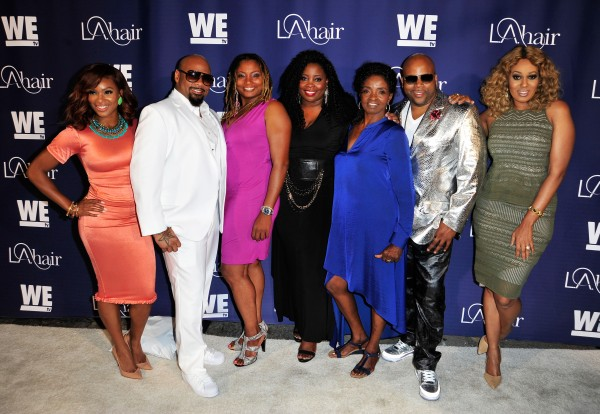 HOLLYWOOD, CA - JULY 14:  (L-R) The cast of LA Hair Angela Christine Stevens, Dontay Savoy, Leah, Kim Kimble, Jasmine Kimble, and Terry Hunt attend the WE tv's LA Hair Season 4 Premiere Party at Avalon on July 14, 2015 in Hollywood, California.  (Photo by Jerod Harris/Getty Images for WE tv)