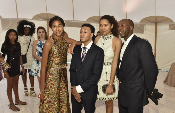 WATER MILL, NY - JULY 18:  Aoki Simmons, Russell Simmons Jr., Ming Lee Simmons and Vlad Charles attend as RUSH Philanthropic Arts Foundation Celebrates 20th Anniversary at Art For Life sponsored by Bombay Sapphire Gin at Fairview Farms on July 18, 2015 in Water Mill, New York.  (Photo by Eugene Gologursky/Getty Images for Bombay Sapphire Gin)