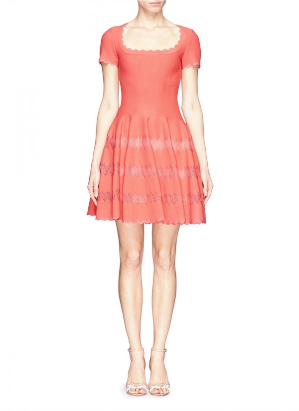 AZZEDINE ALAÏA SCALLOP EDGE CHEVRON KNIT FLARE DRESS
