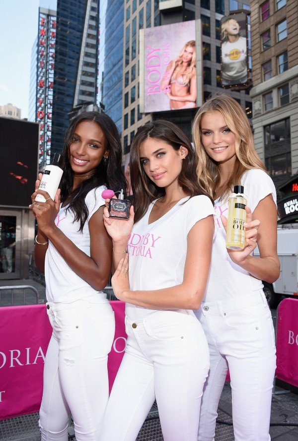 NEW YORK, NY - JULY 28:  (L-R)  Victoria's Secret Angels Jasmine Tookes, Sara Sampaio and Kate Grigorieva pose at the launch of Body By Victoria in Times Square on July 28, 2015 in New York City.  (Photo by Dimitrios Kambouris/Getty Images for Victoria's Secret)