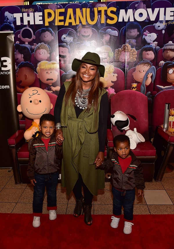 """ATLANTA, GA - NOVEMBER 03: TV personality Phaedra Parks with sons Ayden Nida (L) and Dylan Nida (R) attend 20th Century Fox's """"The Peanuts Movie"""" VIP & Red Carpet Screening on November 3, 2015 in Atlanta, Georgia. (Photo by Paras Griffin/Getty Images for 20th Century Fox/Allied Integrated Marketing)"""