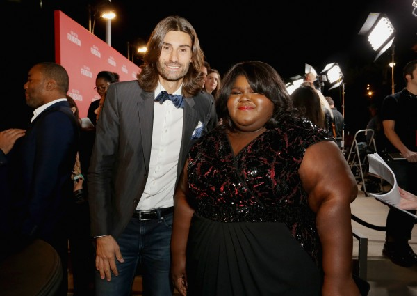 BEVERLY HILLS, CA - NOVEMBER 05: Actress Gabourey Sidibe (R) and Champagne Taittinger's brand ambassador Jordan Andrieu attend the Screen Actors Guild Foundation 30th Anniversary Celebration, with Champagne Taittinger, at Wallis Annenberg Center for the Performing Arts on November 5, 2015 in Beverly Hills, California. (Photo by Rachel Murray/Getty Images for Champagne Taittinger)