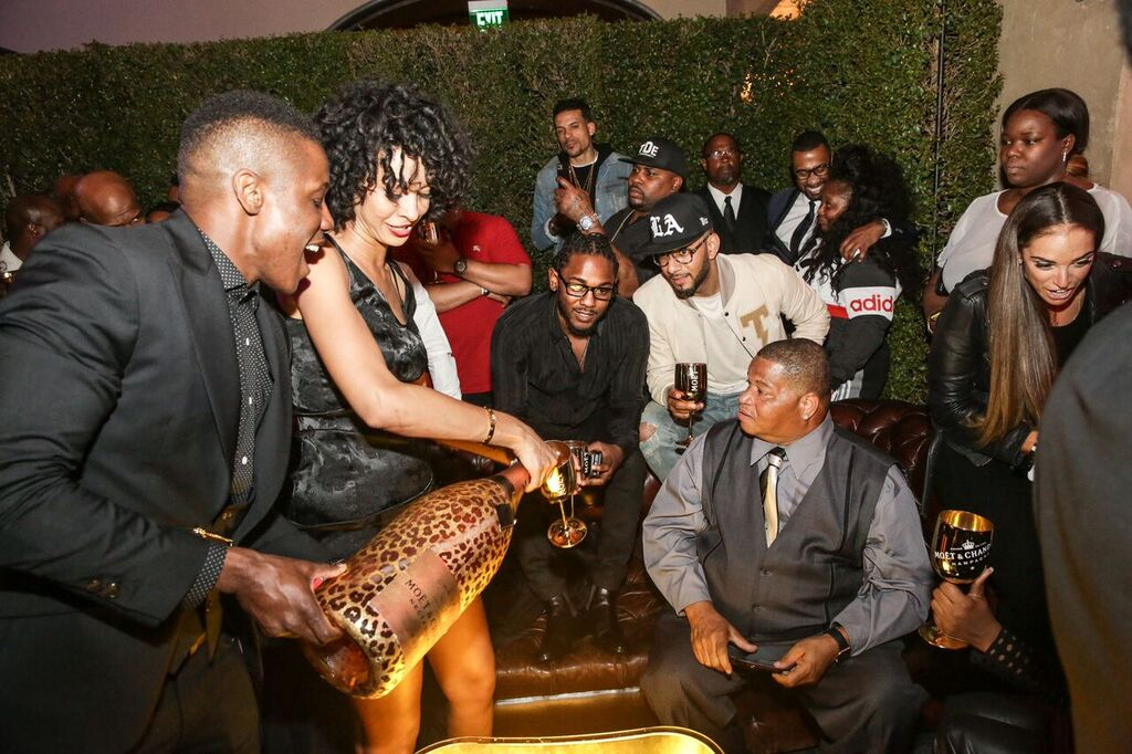 Kendrick Lamar Celebrates Grammy Win At After Party with Moet