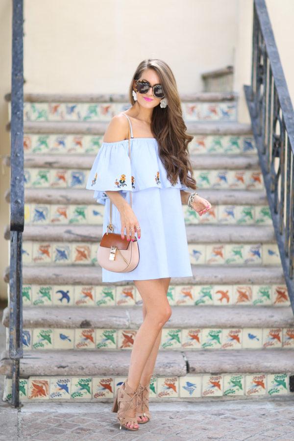 off shoulder dress spring outfit inspiration lace up sandals-5