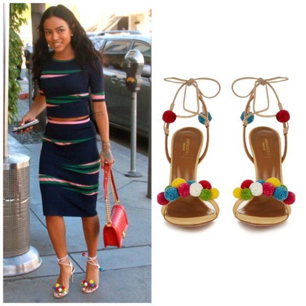Aquazzura Pom Pom-Embellished Raffia Sandals