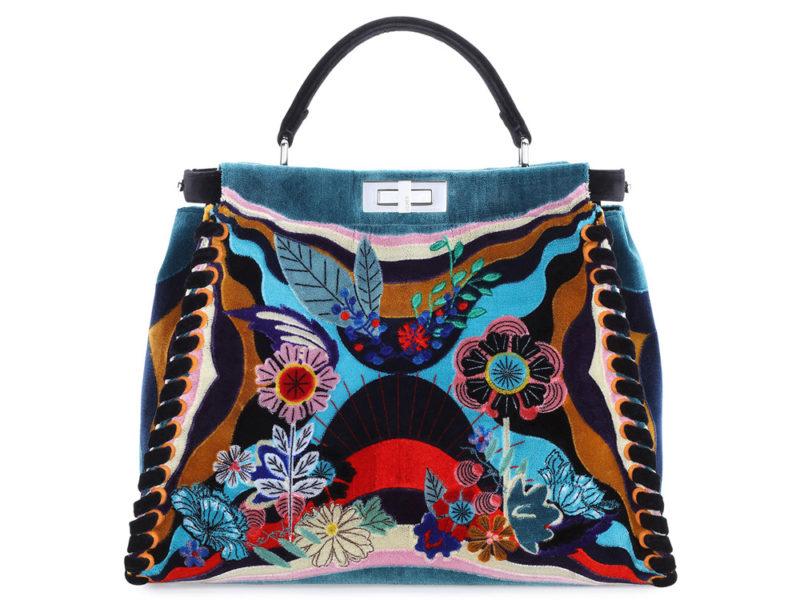 Fendi-Peekaboo-Embroidered-Velvet-Bag