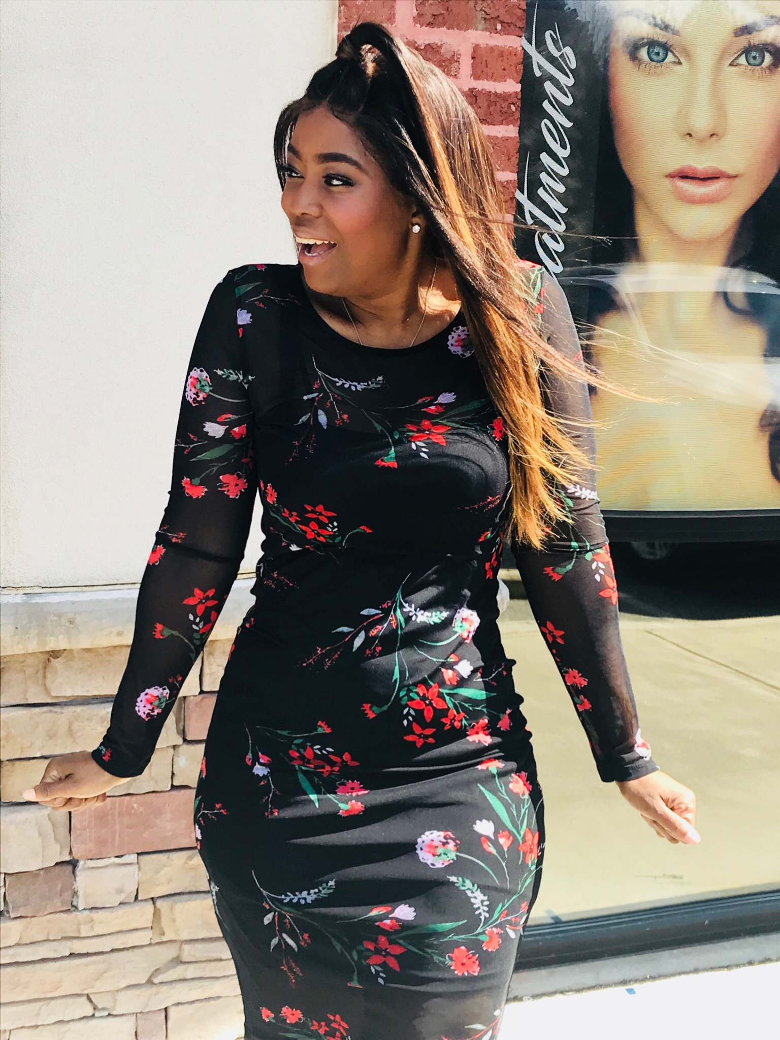 My Style: Mesh Bodycon Floral Print Dress