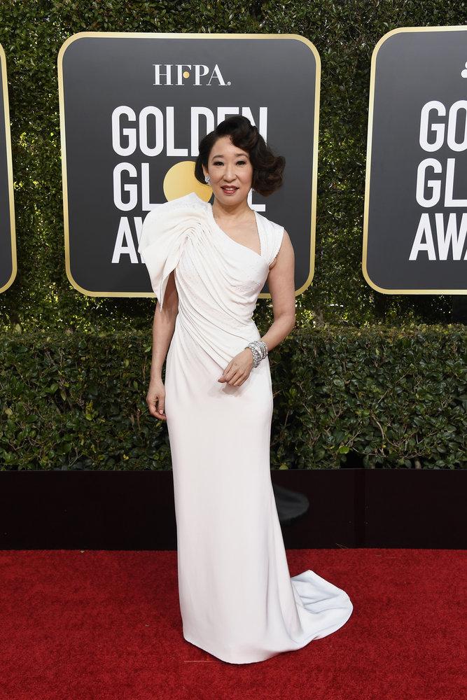 Wardrobe Breakdown: Sandra Oh At Golden Globe Awards