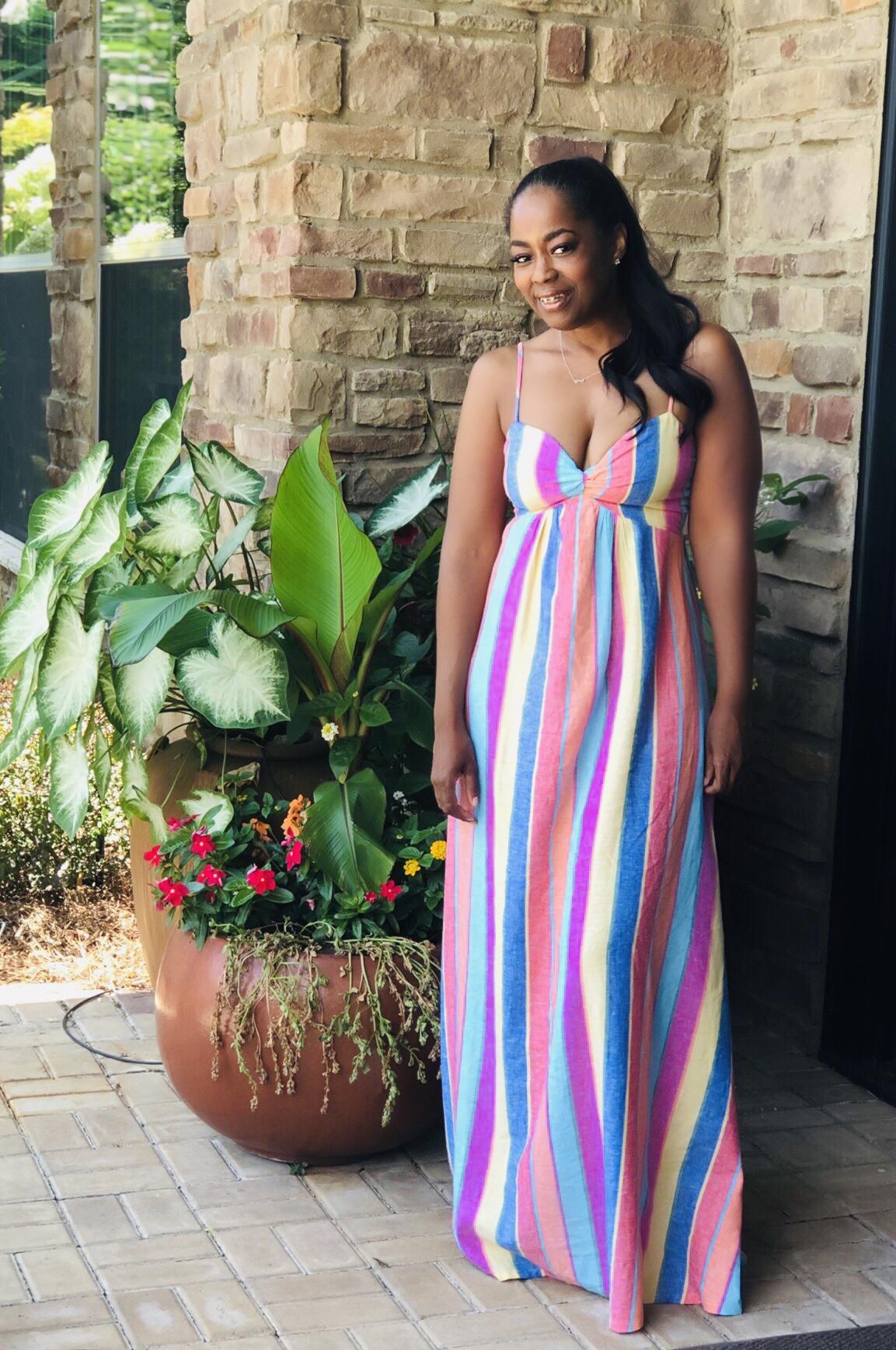 My Style: Rainbow Stripe Linen Magnolia Maxi Dress