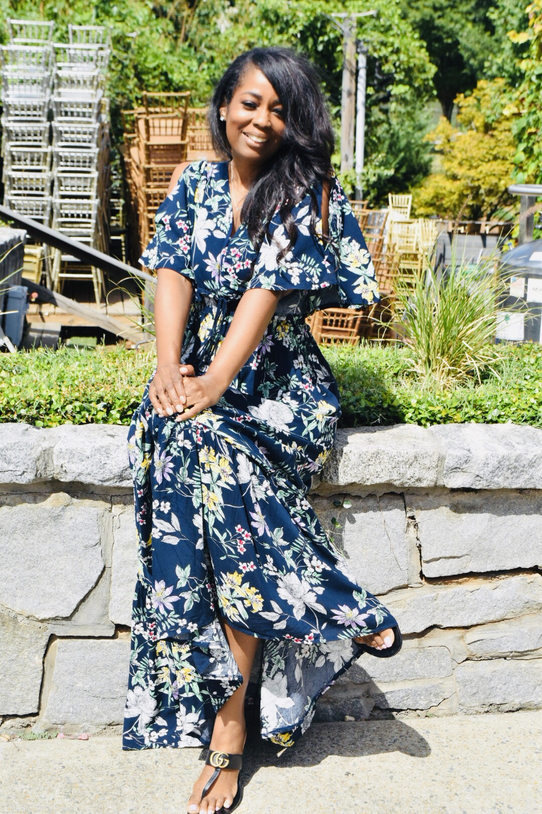 My Style: 70's Multicolor Floral Print Cold Shoulder Maxi Dress