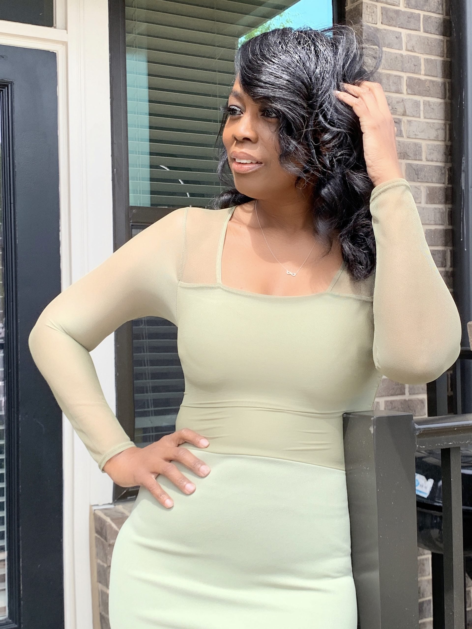 My Style: Sage Mesh Overlay Mini Dress