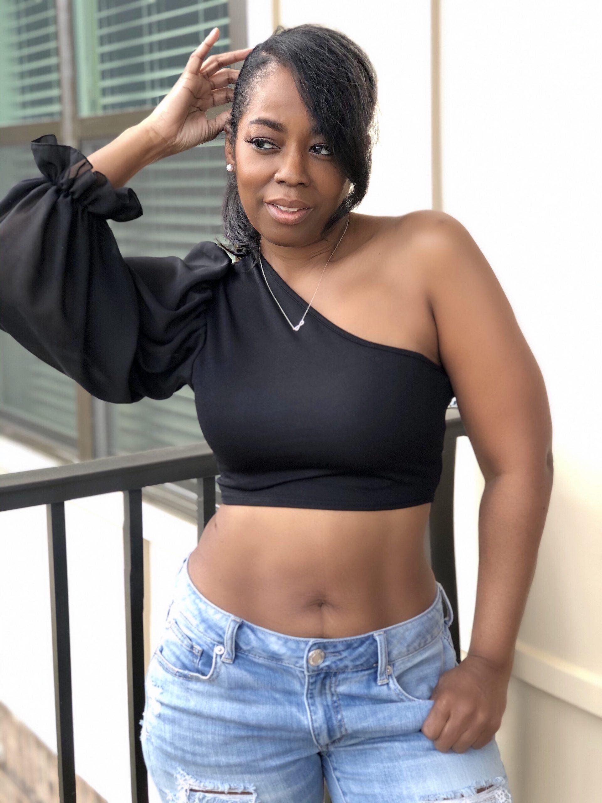 My Style: Black Mesh Puff One Sleeve Crop Top