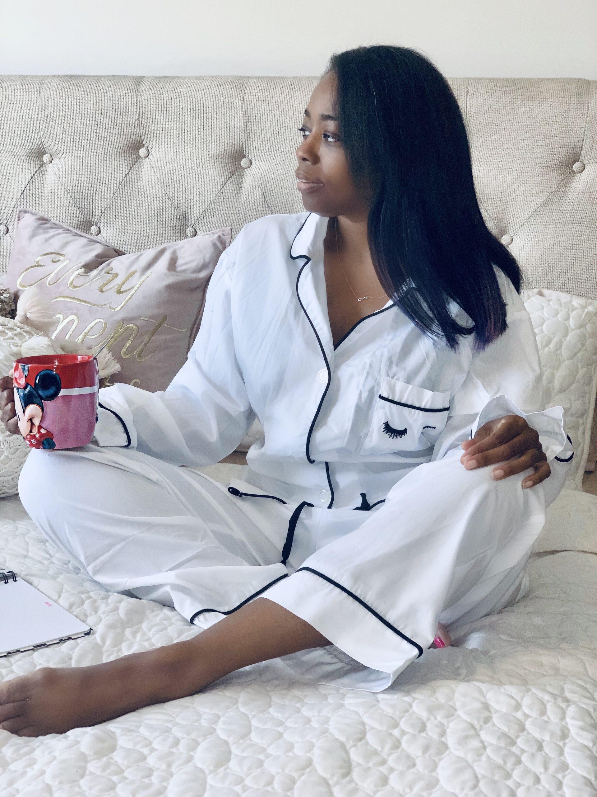 My Style: Ivory Long Sleeve Eyelash Embroidery PJ Set