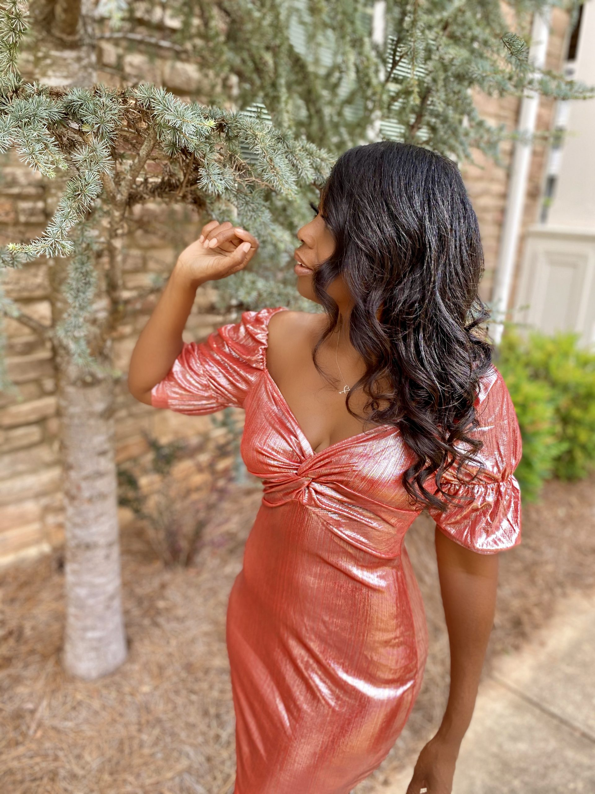 My Style: Coral Metallic Puff Sleeve Twist Front