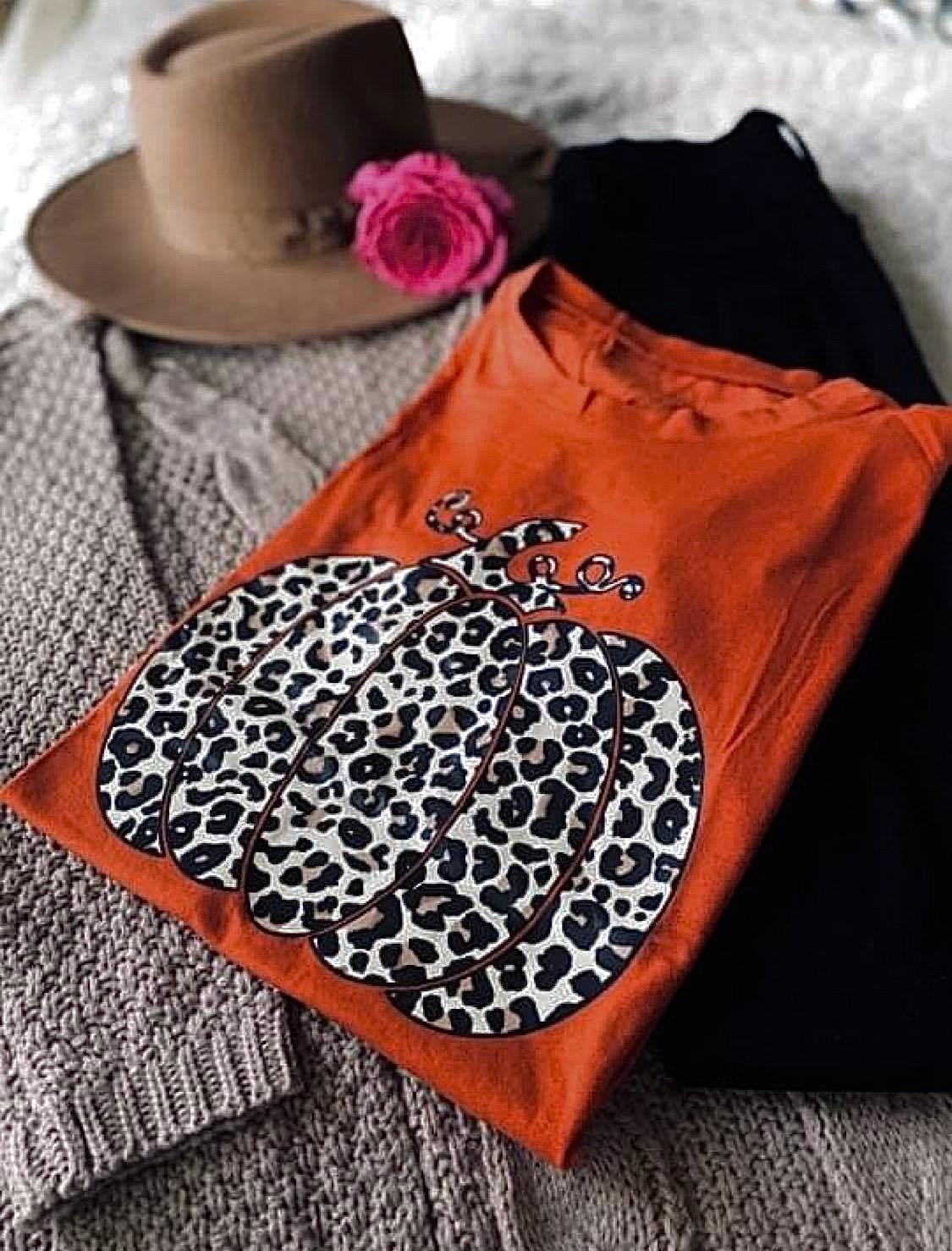 Fall Fashion Look: Snazzy Gal Boutique Pumpkin T-Shirt & Cardigan
