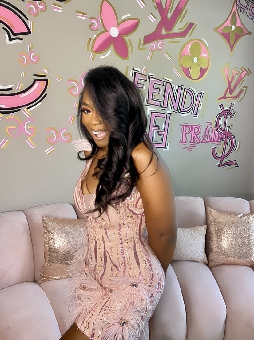 My Style: Pink Mini Feather Dress