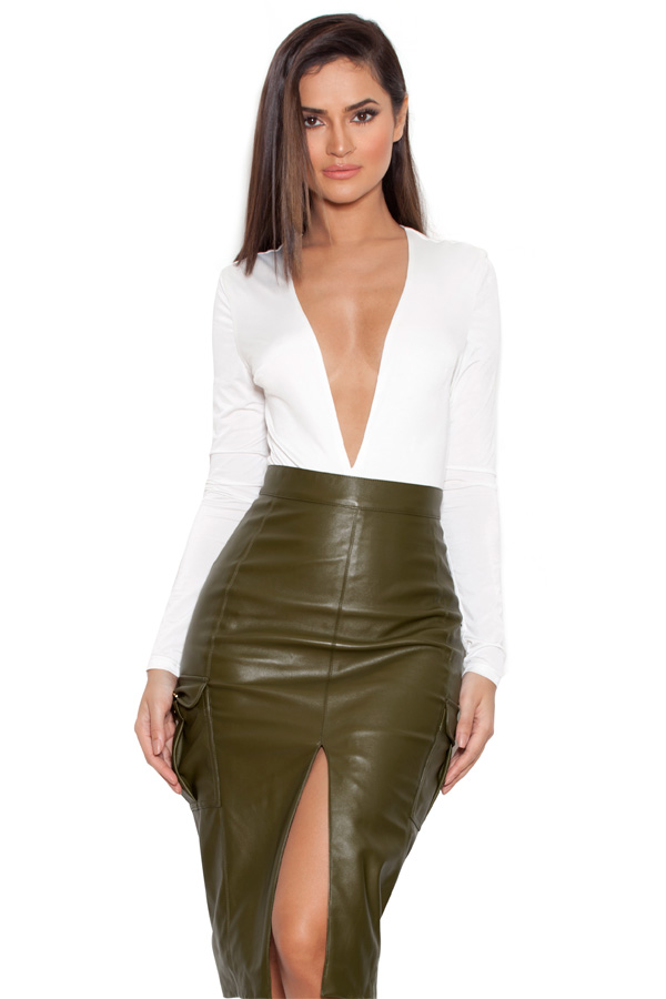 Currently Obsessed With: Federica Olive Vegan Leather Skirt
