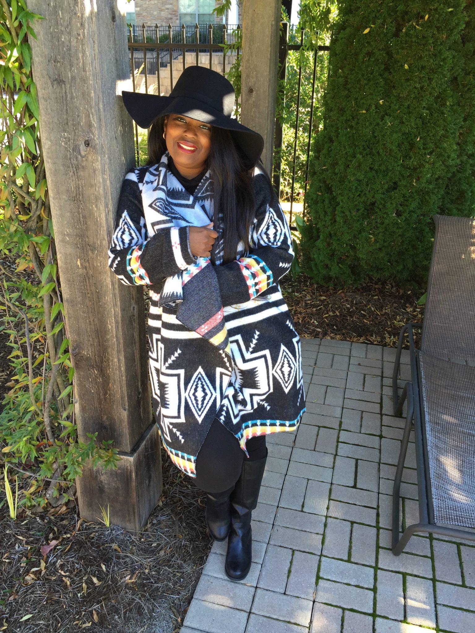My Style: Graphic Print Blanket Coat