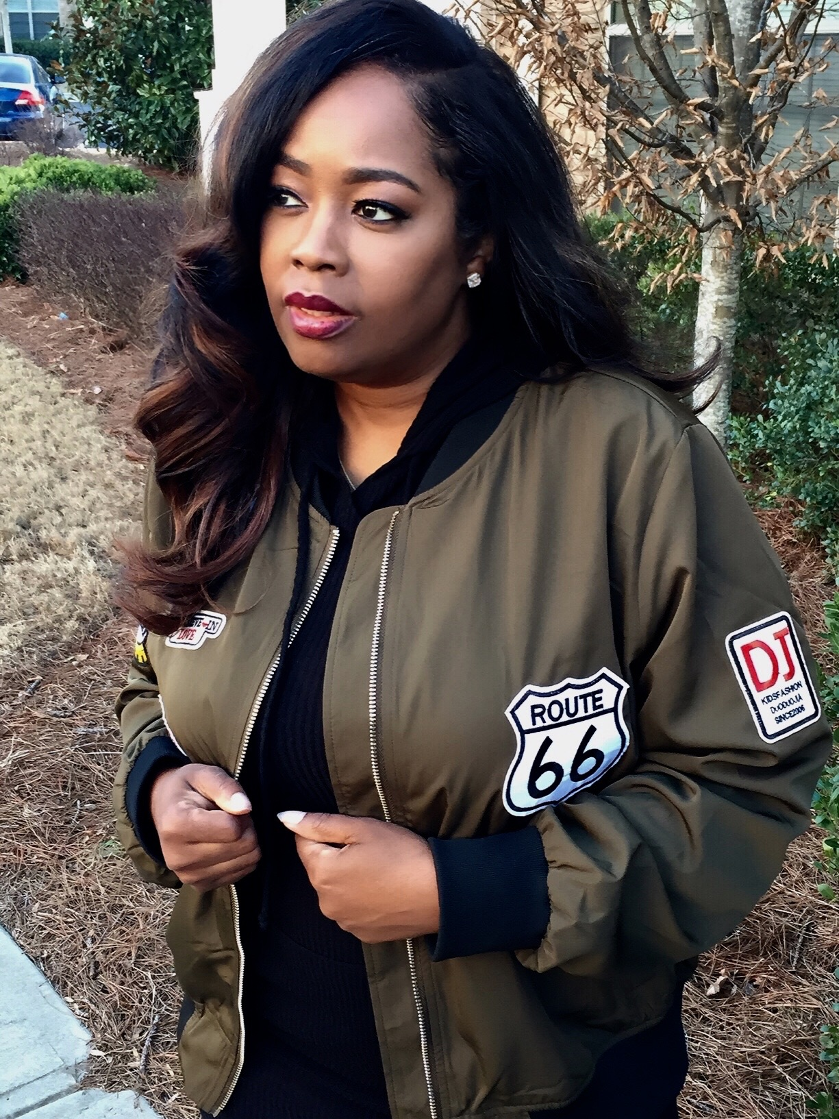 My Style: Bomber Jacket & Sleeveless Hood Dress