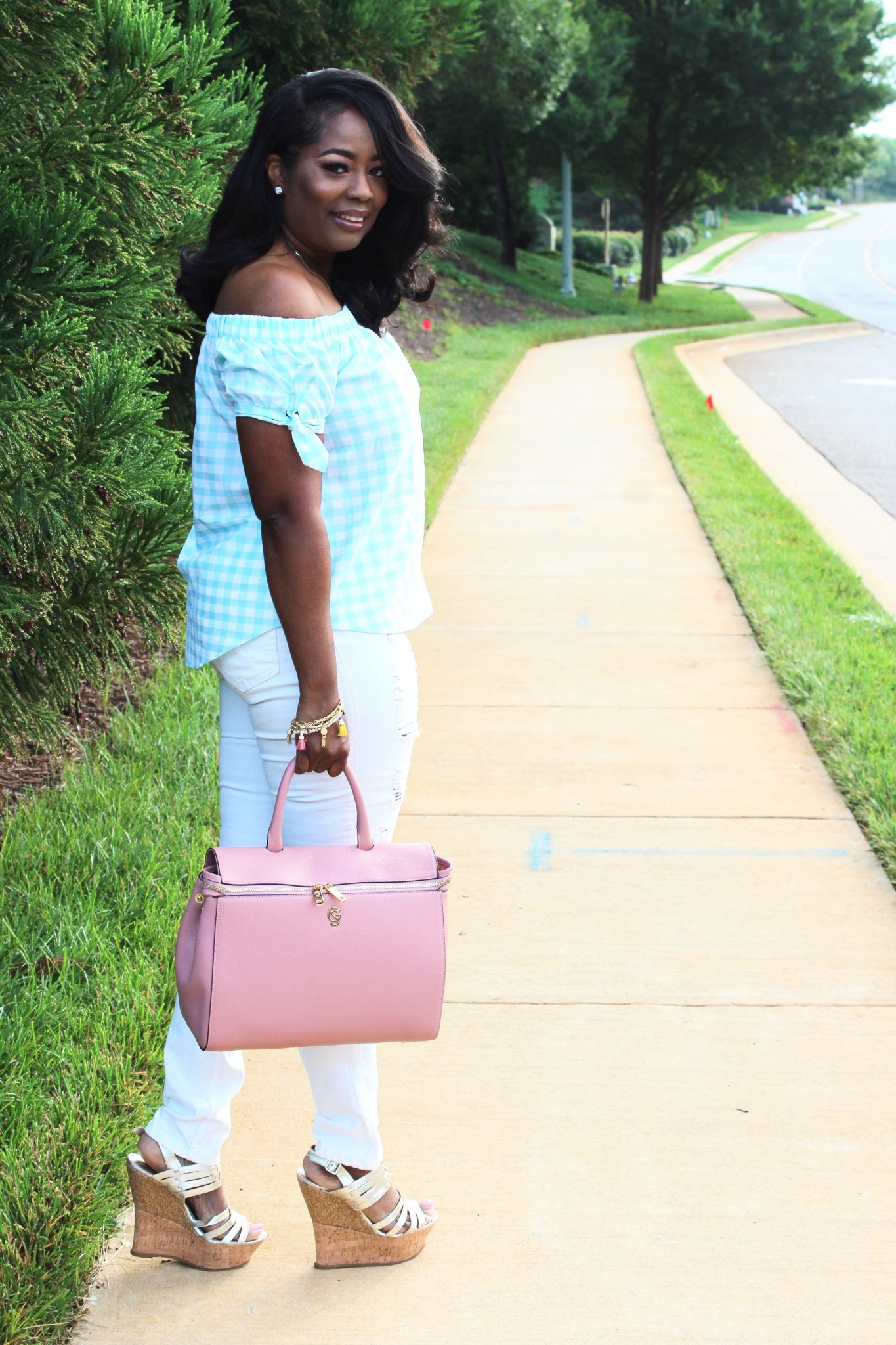 My Style: Gingham Print Off-The-Shoulder Blouse