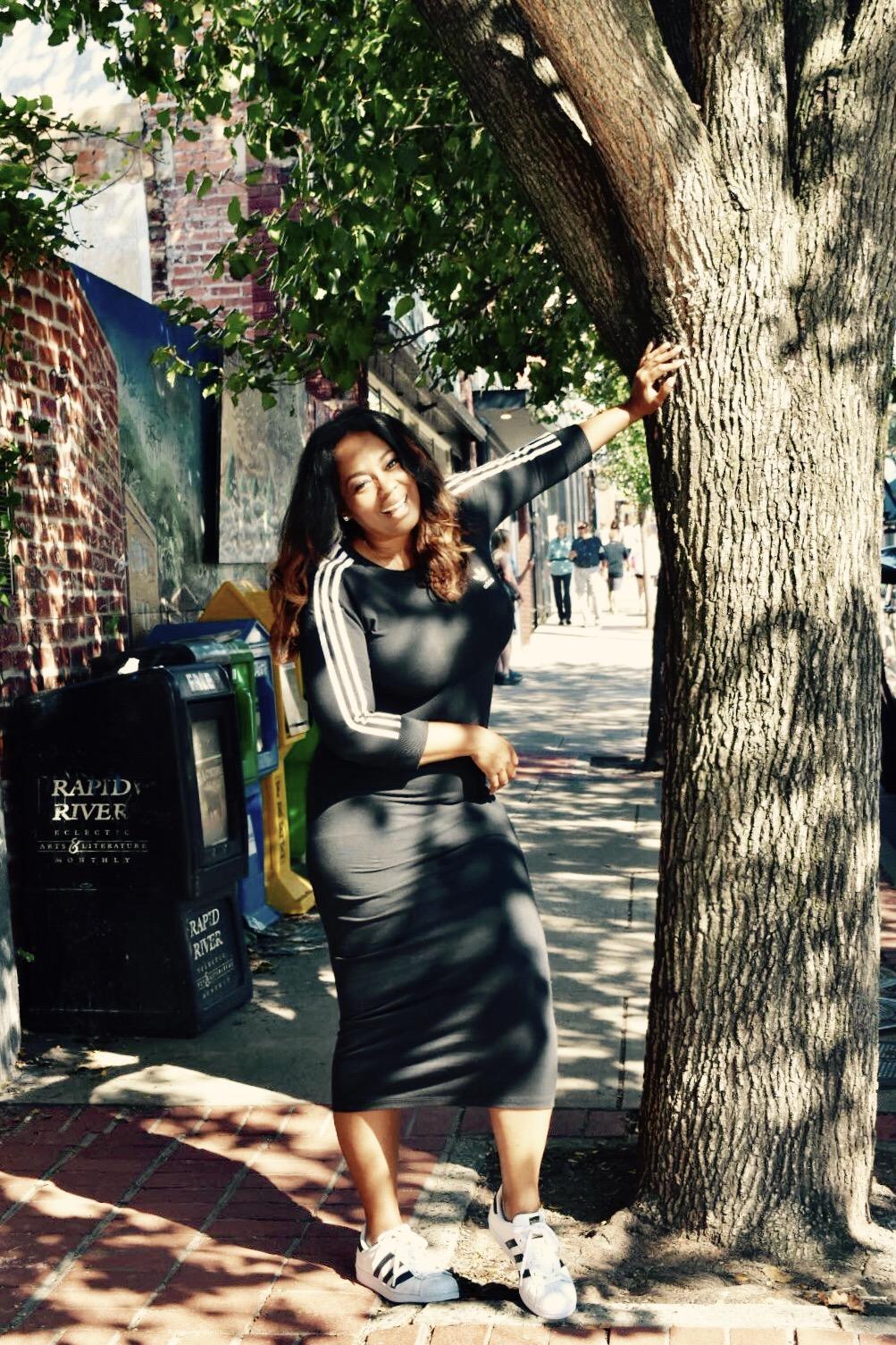 My Style: Adidas Black Three Stripe Midi Dress