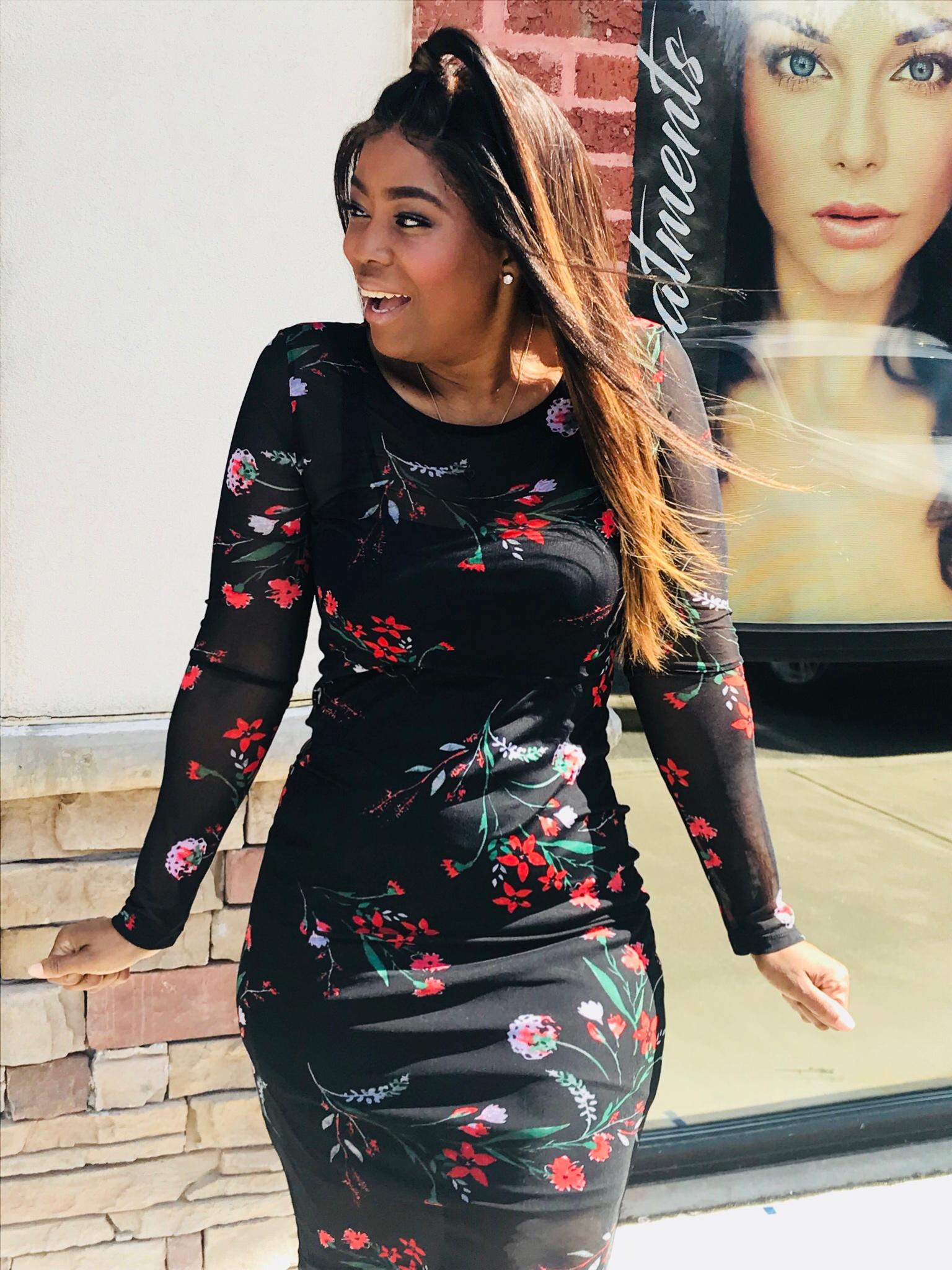 My Style: Mesh Bodycon Floral Print Dress