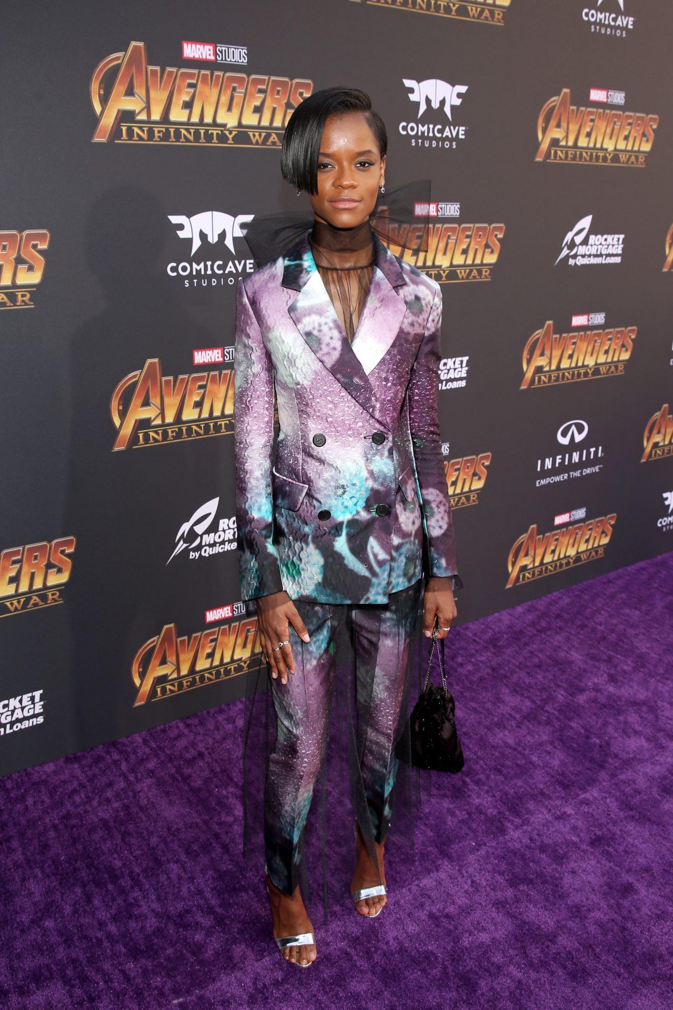 Wardrobe Breakdown: Letitia Wright At Avengers Infinity War Premiere