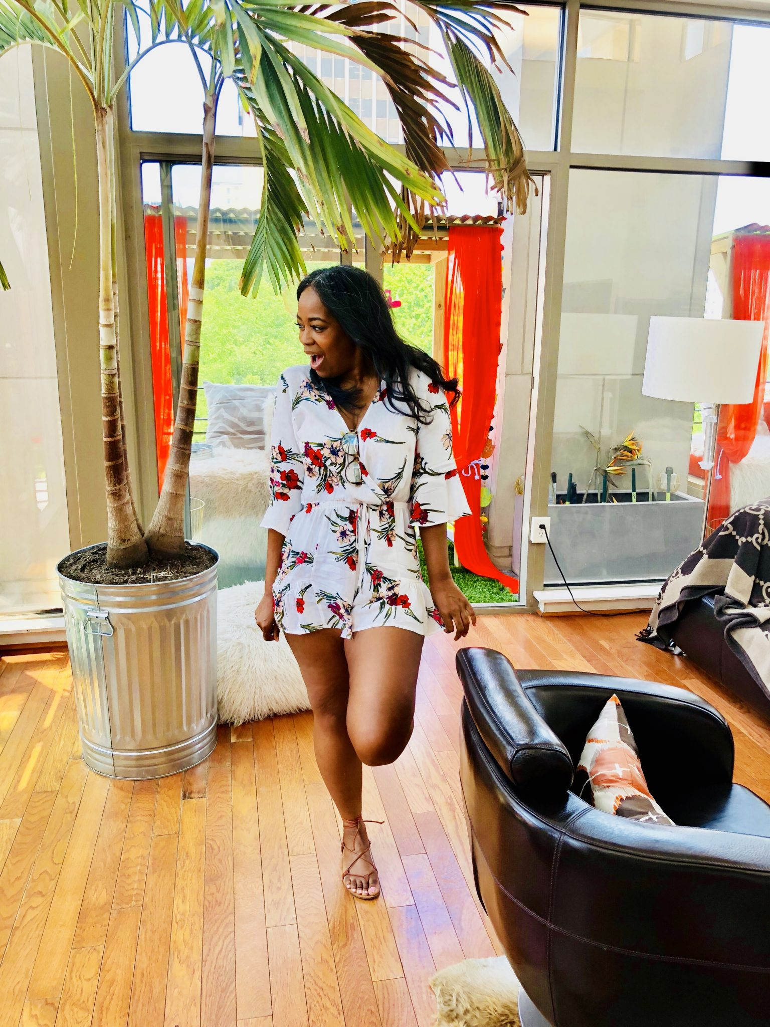 My Style: Floral Ruffle Sleeve Romper