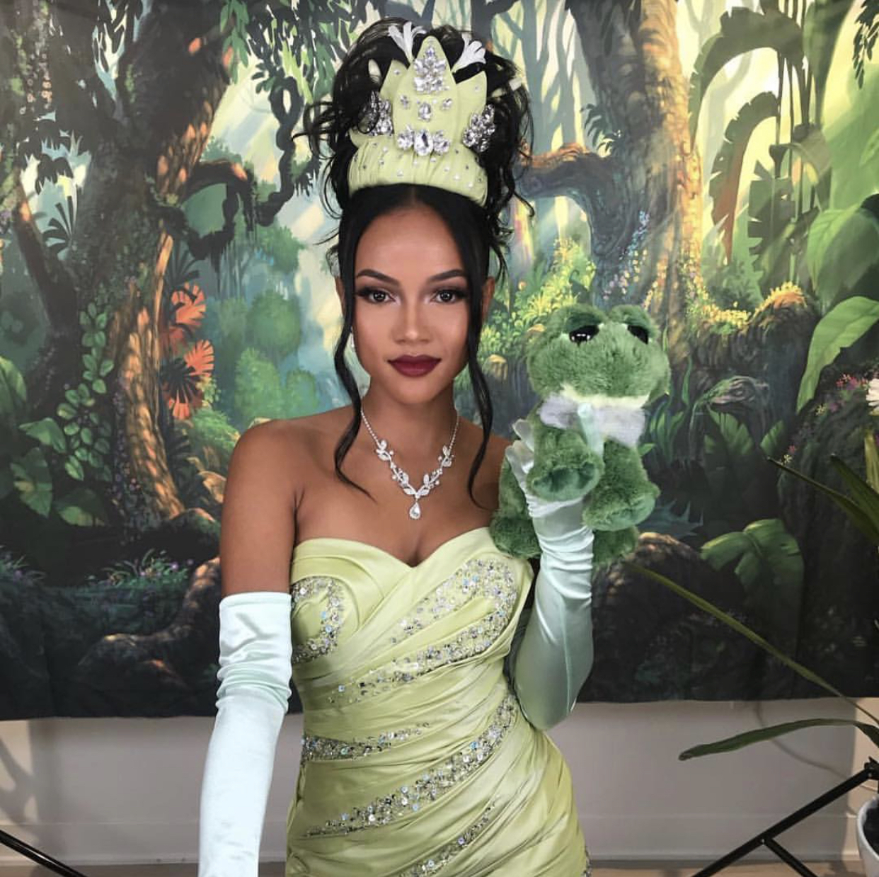 Get The Look: Karrueche Tran Makeup Transformation Into Princess Tiana