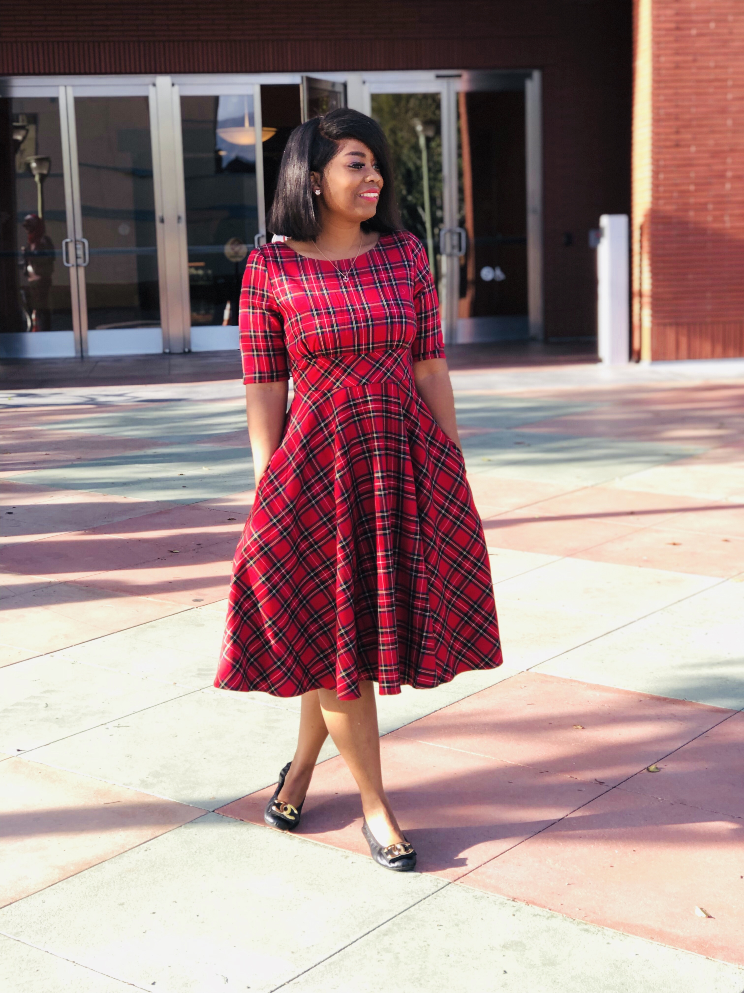 My Style: Hell Bunny 1950s Red Plaid Irvine Swing Holiday Dress