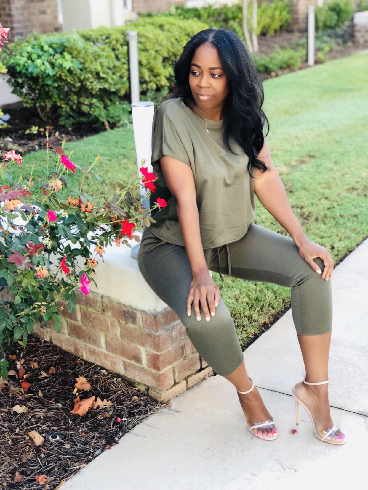 My Style: Khaki Short Sleeve Boxy Loungewear Set Lacy