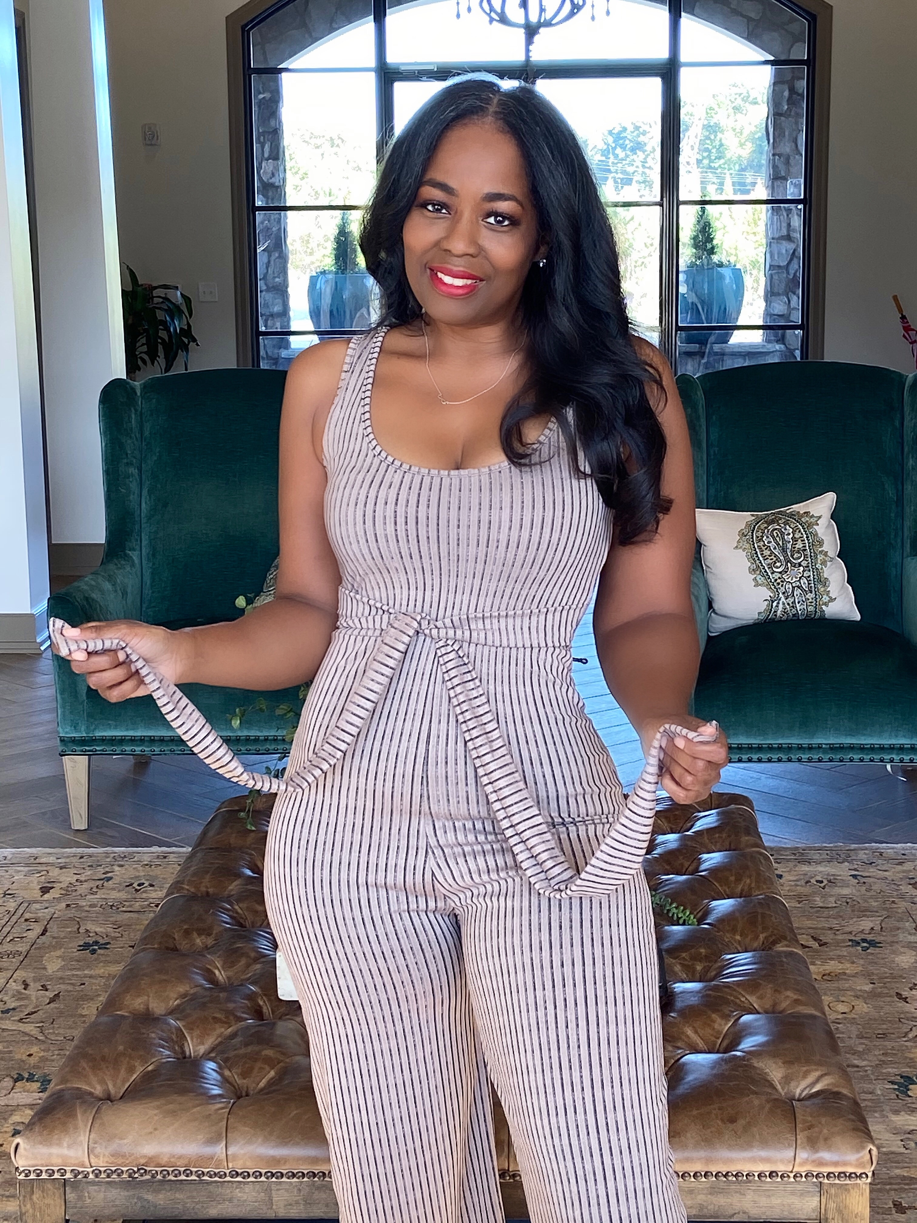 My Style: Femme Luxe Stone Ribbed Culotte Jumpsuit