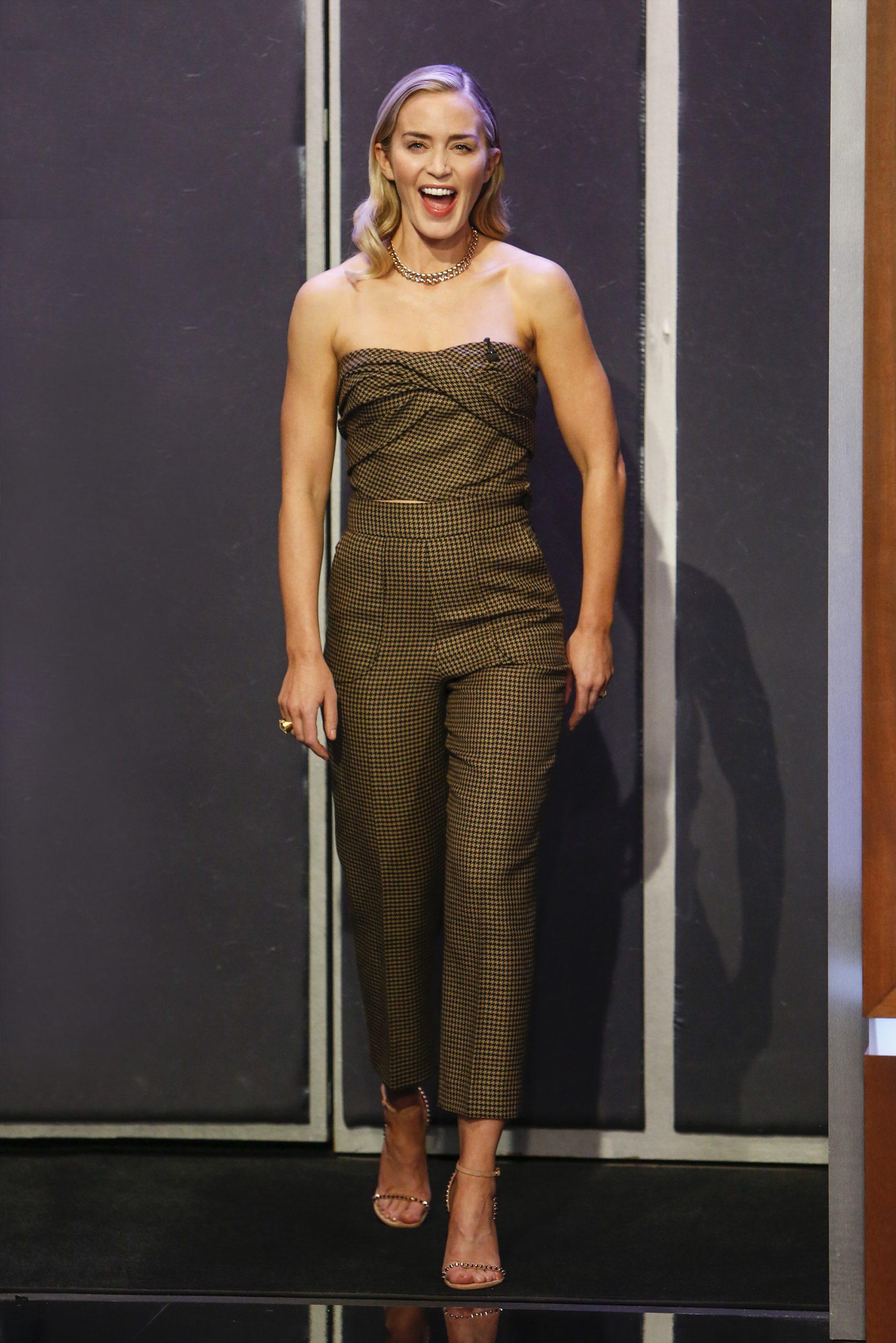 Wardrobe Breakdown: Emily Blunt On 'Jimmy Kimmel Live'