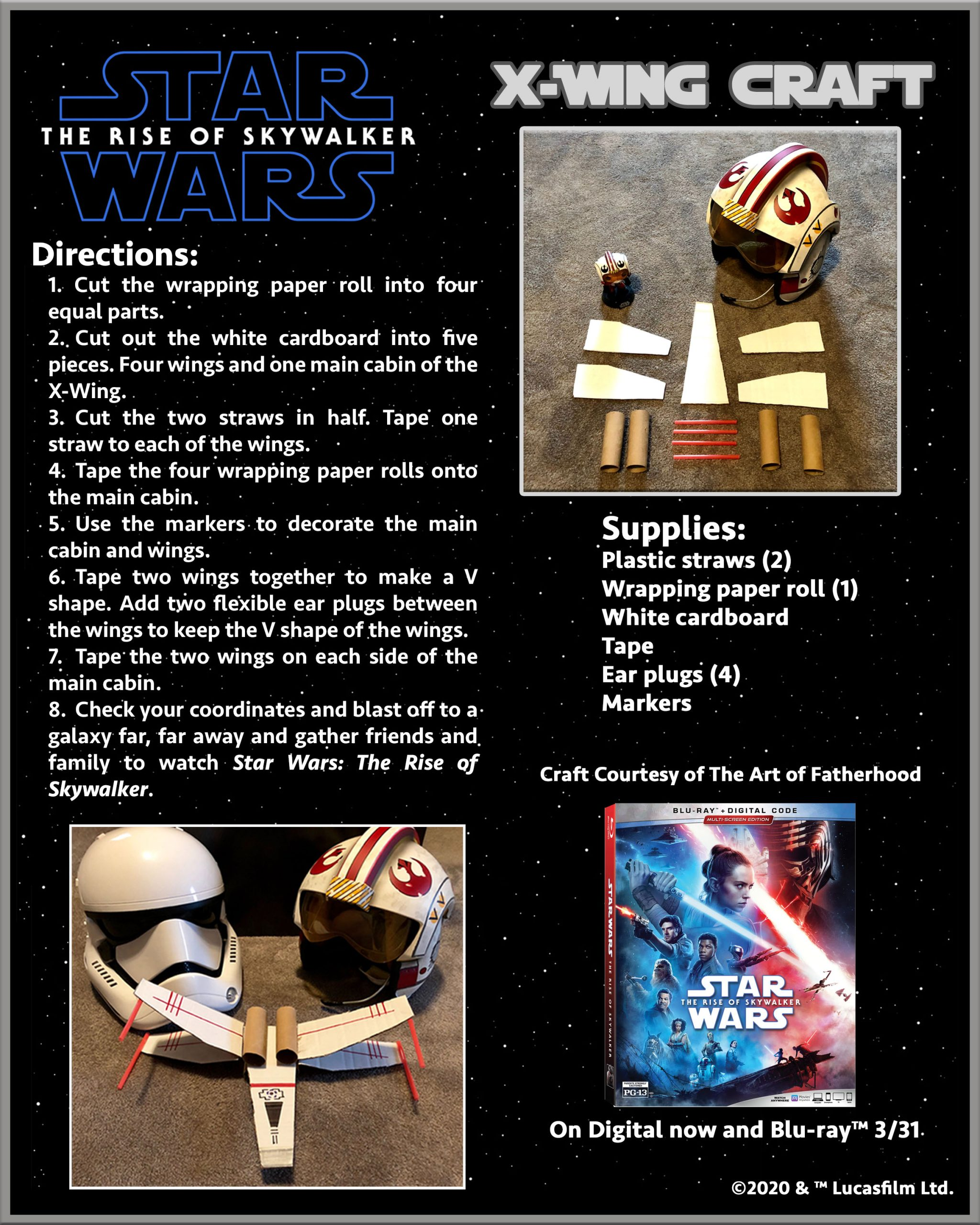 At Home Activity – Celebrate Star Wars: The Rise of Skywalker By Creating Your Own X-Wing!