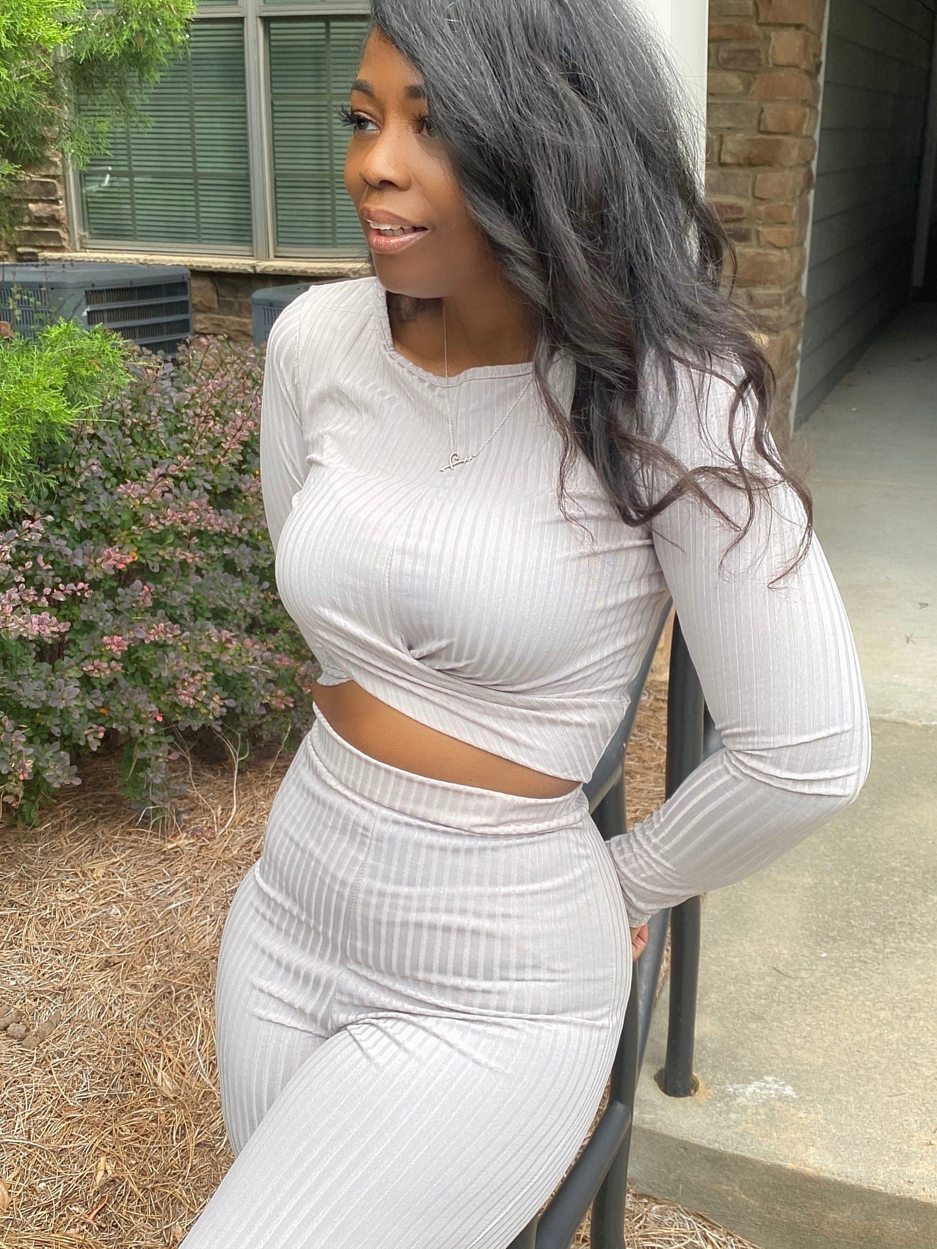 My Style: Grey Ribbed Twist Front Loungewear Set