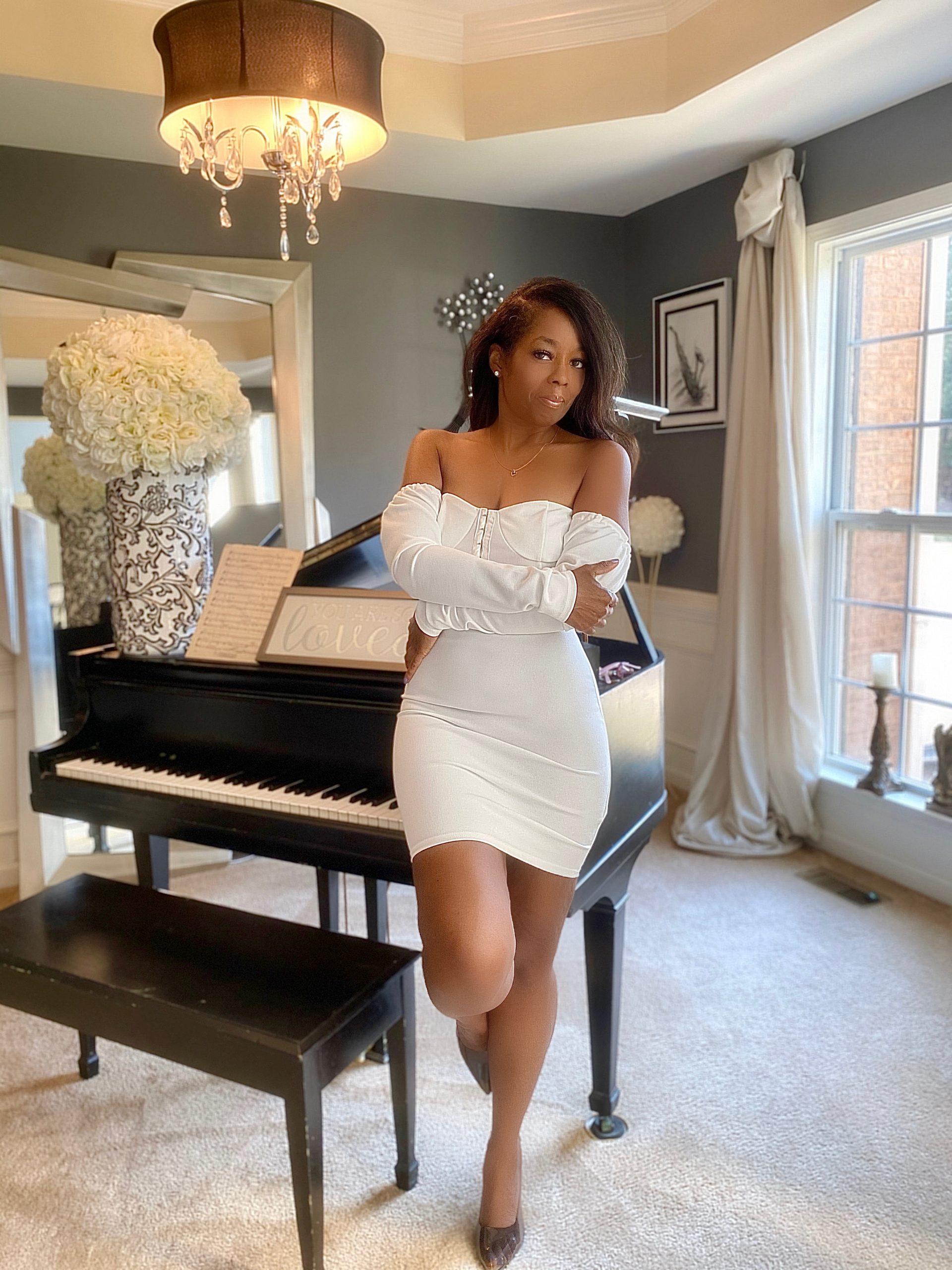 My Style: White Milkmaid Bodycon Mini Dress