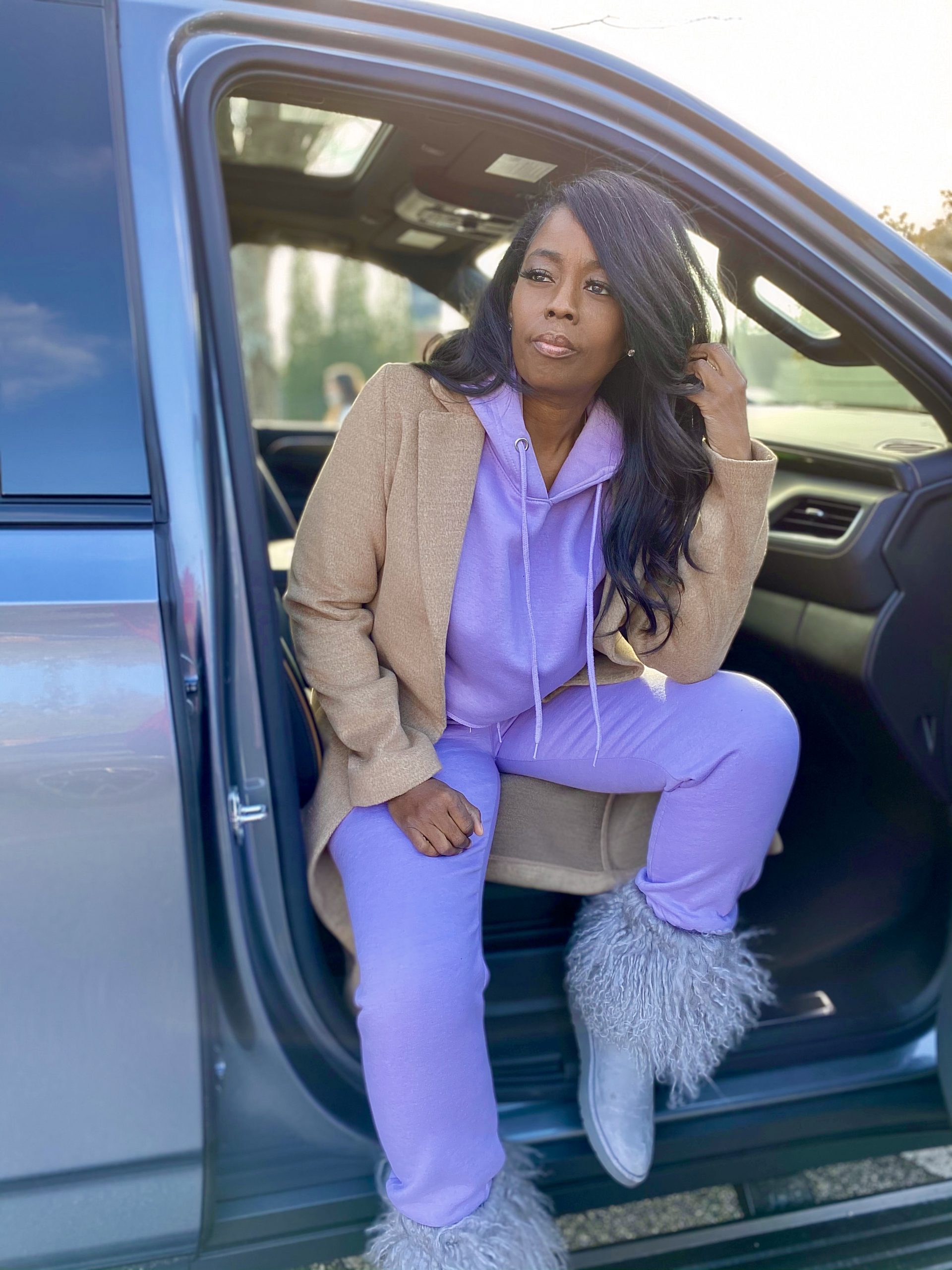 My Style: Lilac Cropped Hoodie & High Waisted Jogger Loungewear Set