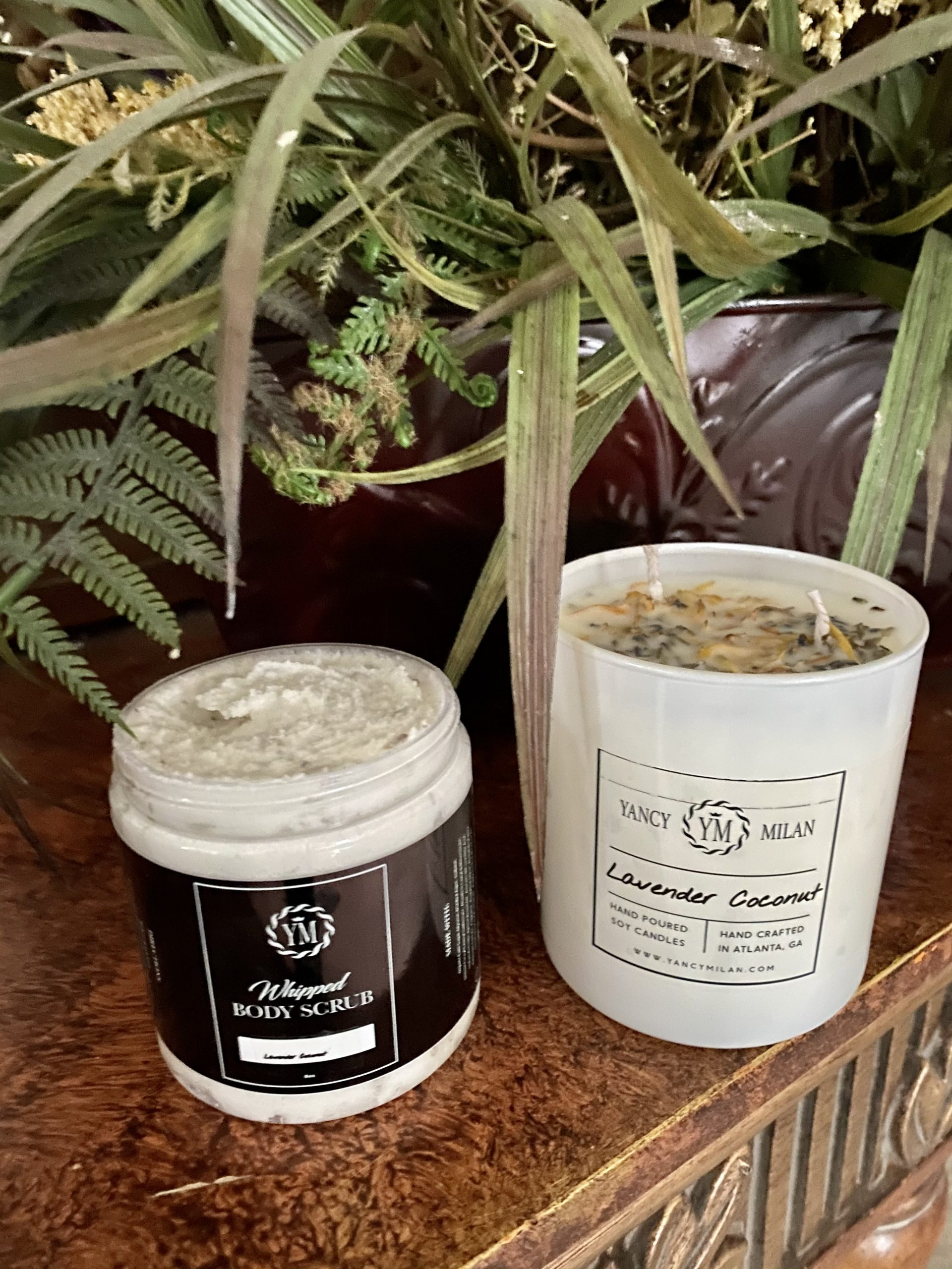 Gift Idea: Yancy Milan Lavender Coconut Soy Candle & Whipped Body Scrub