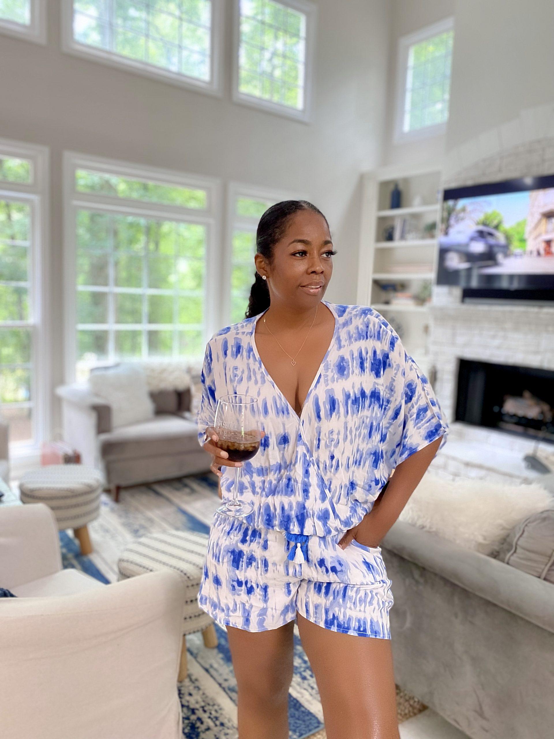 My Style: Madeline Kimono Blue Romper